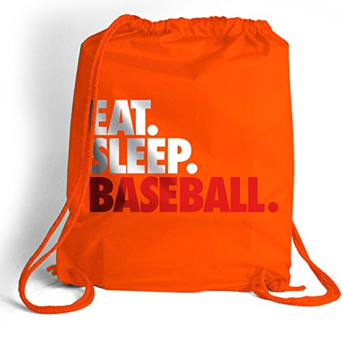 Eat. Sleep. Baseball. Cinch Sack | Baseball Bags by ChalkTalk SPORTS | Orange