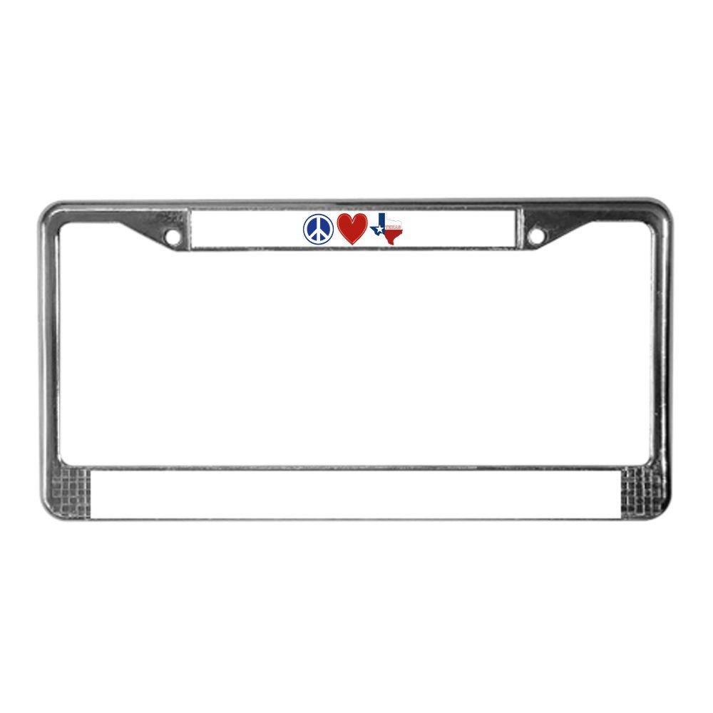 CafePress/ /Chrome Cadre de plaque dimmatriculation support de licence Tag /Paix Amour Texas/