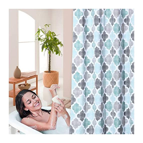 """Haperlare Fabric Shower Curtain, Aqua Polyester Cotton Blend Fabric for Bathroom Showers and Bathtubs, Geometric Pattern Heavy Textured Fabric Shower Curtain for Bathroom, 72"""" x 72"""", Gray/Aqua - QUALITY MATERIAL: Our shower curtain with soft hand feel is made ofa 75% polyester/25% cotton blend fabric, odorless, eco-friendly and durable, thick material. Instantly upgrades any bath to create a relaxing spa-like environment. BATHROOM DECORATIONS: The fabric shower curtain provides perfect privacy and decorative appeal. Inspired by the feeling of stylish and elegant, the quatrefoil geometric pattern shower curtain can also instantly update any bathroom decor theme. SERVE WELL: Bold graphics printedadds real value and depth to your decor. This unique & modern designs match well with various color palettes of towels, rugs, bathroom mats and any other bathroom accessories. Not waterproof, use of liner recommended for added protection. - shower-curtains, bathroom-linens, bathroom - 51TCAsDirCL. SS570  -"""