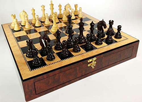 Birdseye Maple Wood Chess Board - DBL Queens - 4 1/2 inch King Rosewood Staunton Wood Colombian Knight Chess Set W/ 20