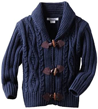 Kitestrings Little Boys' Cable Knit Toggle Front Cardigan, Peacoat Navy, 2T