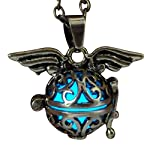 UMBRELLALABORATORY Steampunk Fairy Necklace Blue Glow in The Dark Gold Tone Wings 6