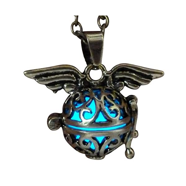 UMBRELLALABORATORY Steampunk Fairy Necklace Blue Glow in The Dark Gold Tone Wings 3