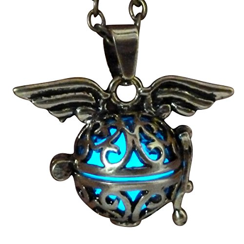 Steampunk fairy necklace Blue glow in the dark gold tone wings by Umbrellalaboratory