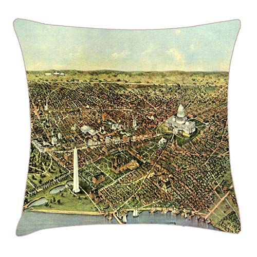 (HFYZT Antique Map, Panoramic View of Washington DC Throw Pillow Cover 18x18 Inch Two Sides Design Printed Pillowcase)