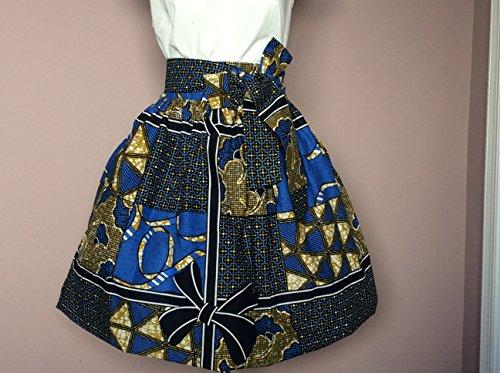 Esty Ankara African Print Knee Length Women Skirt With Two Pockets Aad A Belt  Size Xs S  M  L  Xl  Xxl