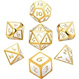 Hestya 7 Pieces Metal Dices Set DND Game Polyhedral Solid Metal D&D Dice Set with Storage Bag and Zinc Alloy with Enamel for Role Playing Game Dungeons and Dragons, Math Teaching (White)
