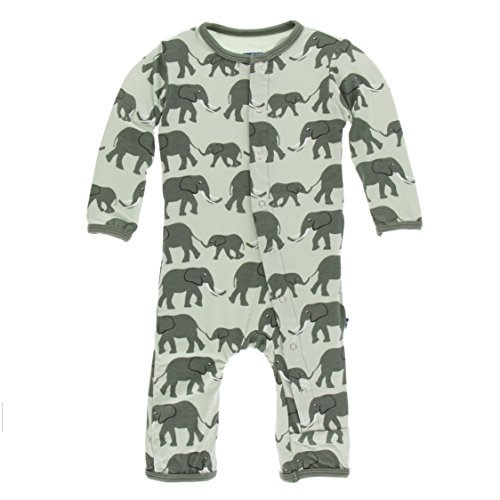 Kickee Pants Little Boys Print Coverall with Snaps - Aloe Elephants, 6-9 Months