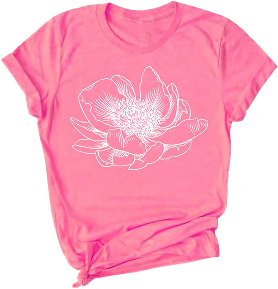 Women's Flower T Shirt Tee Floral Graphic Cute Lotus Comfy Beach Tshirt Cotton Christmas