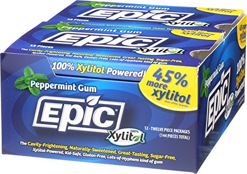 Epic Dental 100% Xylitol Sweetened Gum, Peppermint, 12 Count (Pack of 12)