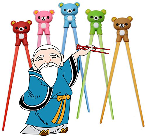 Childrens Training Chopsticks also for Adults and Beginners - Set of Assorted Colored Bear Shaped Chopsticks Comes with Attachable Learning Chopstick Ring Aids - Right or Left Handed by Masta In Training