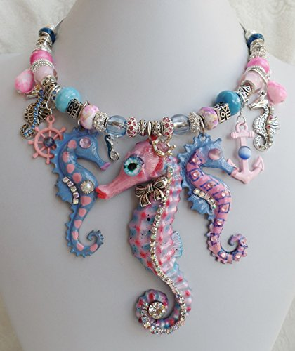 Claire Kern Creations Pink Seahorse Necklace Anchor Hand Painted Signed - Rhinestone Signed Earrings
