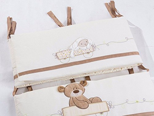 JACKBABYBABY Unisex Baby Bedding Set Cotton 3D Embroidery Bear Quilt Pillow Bumper Bed Sheet 5 Pieces Crib Bedding Set White Color by JACKBABYBABY (Image #3)