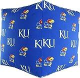 College Covers KANCUC Kansas Jayhawks Cube Cushion Ottoman, Blue