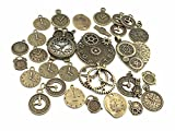 Kinteshun Clocks and Watches Dial Face Movement Charm Alloy Multistyle Steampunk Pendant Connector for DIY Jewelry Making Accessaries(100 Gram,Antique Bronze)