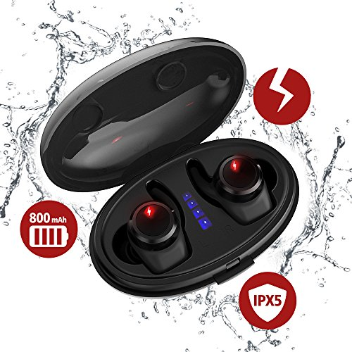 True Wireless Earbuds with Qi-Enabled Wireless Charging Case, Ti-Thor Bluetooth Headphones for Sports, Mini V4.2 Wireless Headsets with Mic, IPX6 Waterproof Long Lasting Earbuds for Samsung iPhone by Tiamat (Image #7)