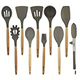 10 Pcs/Set Silicone Kitchen Utensils Set With Beech Wood Handle Cooking Utensils, BPA free