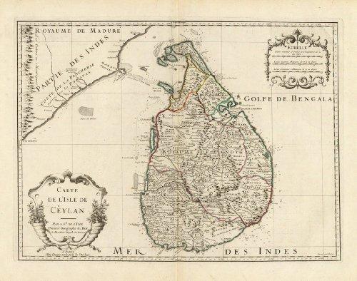 1722 Historic French Map Ceylon Sri Lanka- Map Reprint