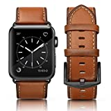 SWEES Apple Watch Band 42mm Leather, iWatch Genuine Leather Retro Vintage Strap Wristband with Stainless Steel Buckle for Apple Watch Series 3, Series 2, Series 1, Sports & Edition Men, Light Brown