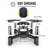 Maxxrace STEM Rc toys DIY Mini Racing Drone Headless Mode 2.4Ghz Nano LED RC Quadcopter Altitude Hold Good for beginners- Black