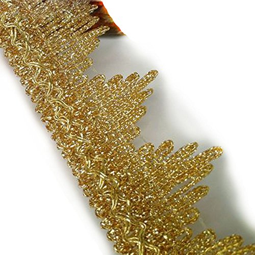"Metallic Gold Lace Trim Braid Ribbon Fringe For Bridal Wedding Home Decor DIY Craft Supply 1-1/2"" Wide By 2 Yards"