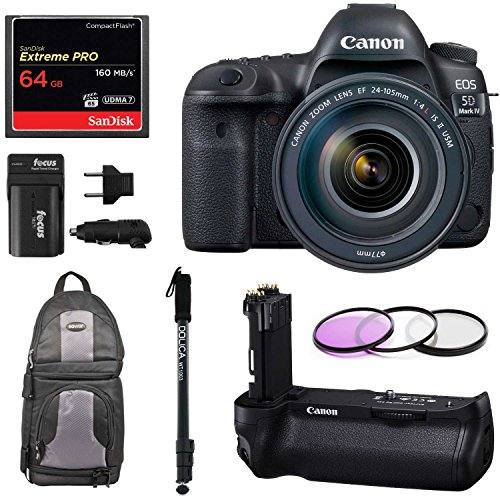 Full Frame DSLR Camera EF 24-105mm f/4L IS II USM Lens with Canon Battery Grip BG-E20 & Spare Battery + Sandisk 64GB Extreme Pro Compact Flash Memory Card + Monopod & Full Bundle (Expandable Media Frame)