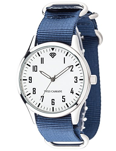 Yves Camani Unisson Unisex Quartz Watch Silver White Analog Display Nylon Nato-Straps YC1084-B