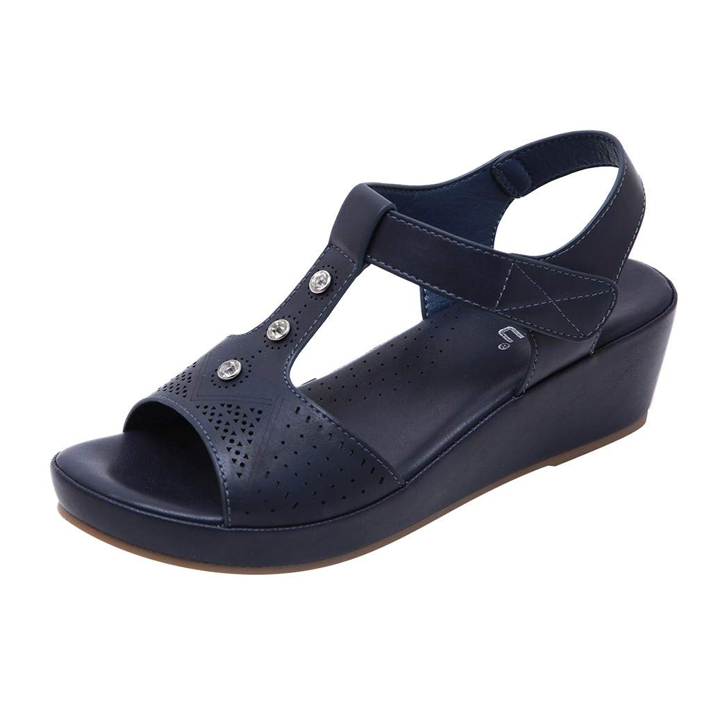 Fastbot Women's Summer Sandals Open Toe Casual Comfort Women Peep-Toe Slope Wedge Thick Bottom Slip Roman Shoes Beach Black