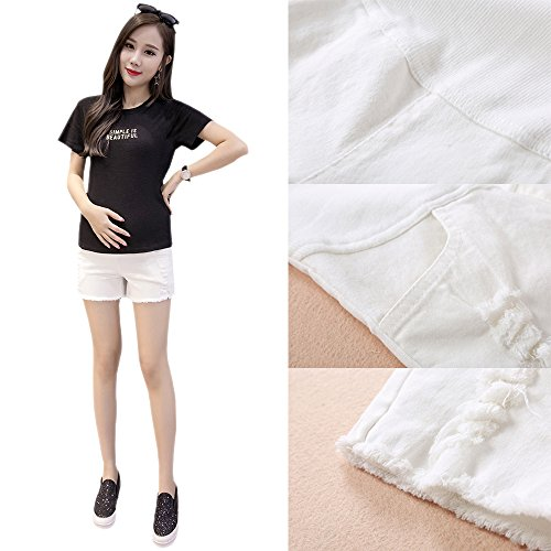 Casuale Donna Da Cowboy Pantaloni Bianco Pantaloncini Maternity Bozevon Regolabile Vita qO4nxw4