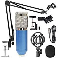 StarCart BM 800 Professional Condenser Microphone for Singing Sound Dynamic Set with Shock Mount Adjustable Suspension Scissor Arm Stand (Blue)