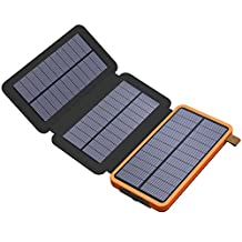 Solar Charger, X-DRAGON Solar Power Bank with Foldable Panel 10000mAh Portable Rugged Shockproof Dual USB Solar Battery Charger for iPhone, Samsung Galaxy ipad and More-Orange