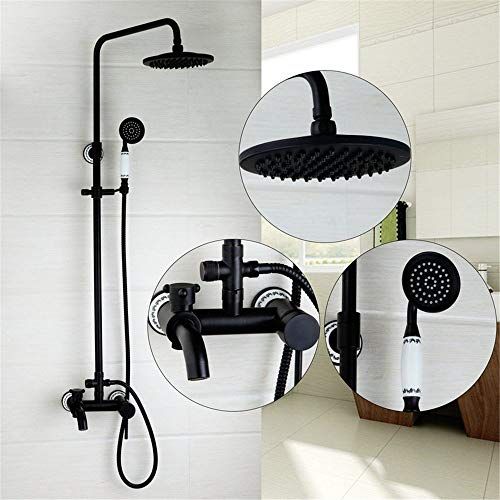 are Attached to The Wall Retro Black Fountain of Copper with Two outlets of Glass of Water tap/Shower Set