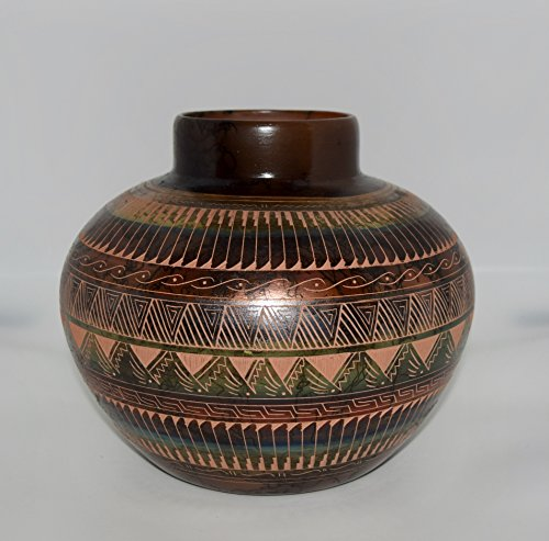 Colorful Hand Etched Horse Hair Decorative Pottery Bowl