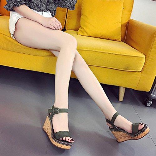 DEESEE(TM) New Arrivals Women Girls Fish Mouth Platform High Heels Wedge Sandals Buckle Slope Sandals Green yiUlCrI