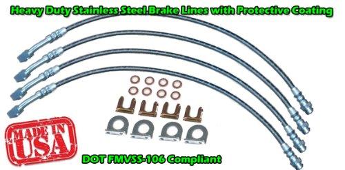 TXCJPJK102 Toxic Offroad Custom DOT Approved Braided Stainless - Jeep Jk Brake Line Kit