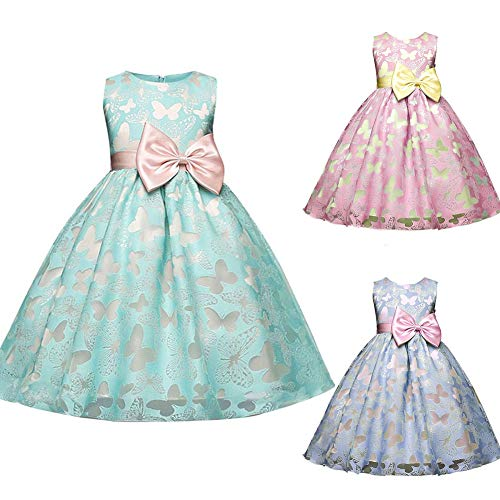 JYS365 Christening Princess Party Baby Girl Bowtie Butterfly Lace Sleeveless Tutu Dress 120cm 1#