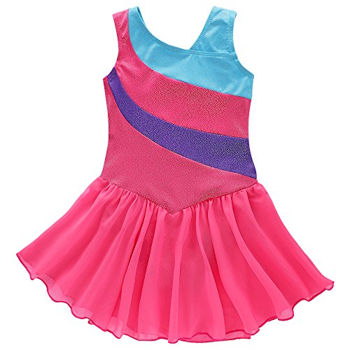 Kidsparadisy Wrap Skirted Leotard for Girls Ribbon Gymnastics Ballet Costume (120(4-5Y), Hotpink)