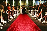 ShinyBeauty Sequin Aisle Runners 2Ft x 15Ft Red