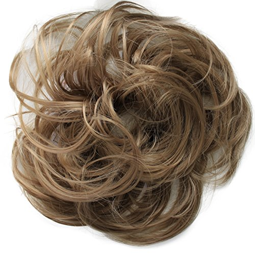PRETTYSHOP Scrunchie Bun Up Do Hair piece Hair Ribbon Ponytail Extensions Wavy Curly or Messy Various Colors(dark blonde 22A)
