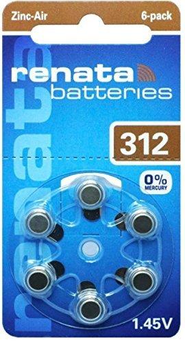 Renata ZA 312 Maratone Zinc Air Hearing Aid Batteries (Pack of 60 batteries)