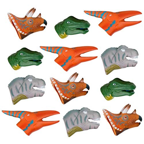 - Kicko Dinosaur Finger Puppets - Pack of 12 Assorted, Colorful Dino Heads - Perfect as Party Supply, Imaginative and Sensory Play, Learning and Educational Tool for Kids of All Ages