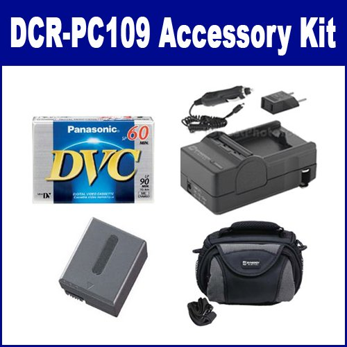 Sony DCR-PC109 Camcorder Accessory Kit includes: SDC-26 Case, DVTAPE Tape/ Media, SDNPFF70 Battery, SDM-102 Charger (Sdm Charger 102)