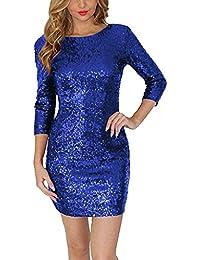 Women Sexy Sparkle Glitter Sequin 3/4 Sleeve Bodycon Dress Pencil Skirt