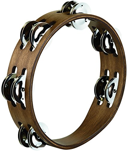 Meinl Percussion CTA2WB Compact 8-Inch Wood Tambourine with Double Row Stainless Steel Jingles, Walnut Brown