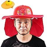 ヘルメット 作業用 ファン付きヘルメット 夏用 扇風機付き ソーラー充電 太陽エネルギー 一般作業用 軽量 (ヘルメット+帽子, レッド)
