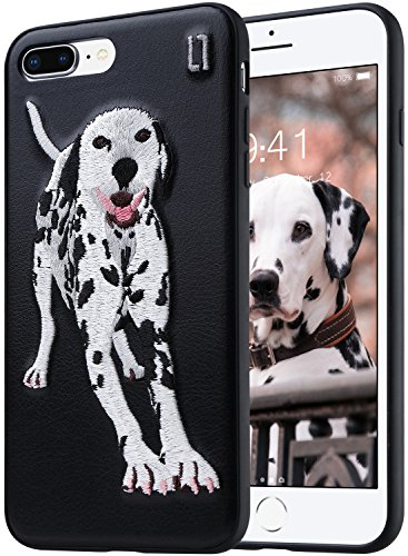 Embroidery Dalmatian (ULAK 3D Embroidered Case Compatible with The iPhone 7 Plus (2016) iPhone 8 Plus (2017) 5.5-Inch - Slim Fit, TPU Bumper with 3D Embroidery on a PU Leather Protective Cover [Dalmatian])
