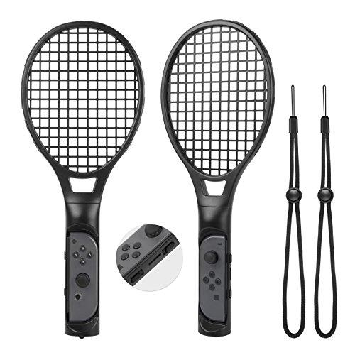 Tennis Racket for Mario Tennis Aces -Zecti Nintendo Switch Joy-con Accessories for Mario Tennis Aces Game, Tennis Racket Grips for Switch Joy-con Pack of 2 (Black)