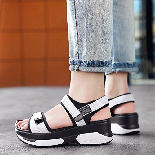 Zcjb Sandali Estivi Piattaforma Scarpe-forte Fondo Velcro Scarpe Da Donna Per Il Tempo Libero Scarpe Da Spiaggia (colore: Nero, Misura: 37) Bianco
