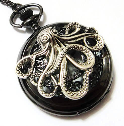 Large Octopus Jet Black Pocket Watch Necklace Pendant - Vintage Victorian Style - Steampunk Retro Pocketwatch Sea Monster Charm - Watch Necklace Vintage