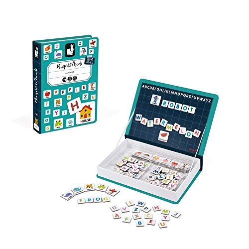 Janod MagnetiBook 143 pc Magnetic Educational Alphabet Game for Learning to Read and Write - Book Shaped Travel/ Storage Case included - S.T.E.M. Toy for Ages 3 (Toys That Start With The Letter T)